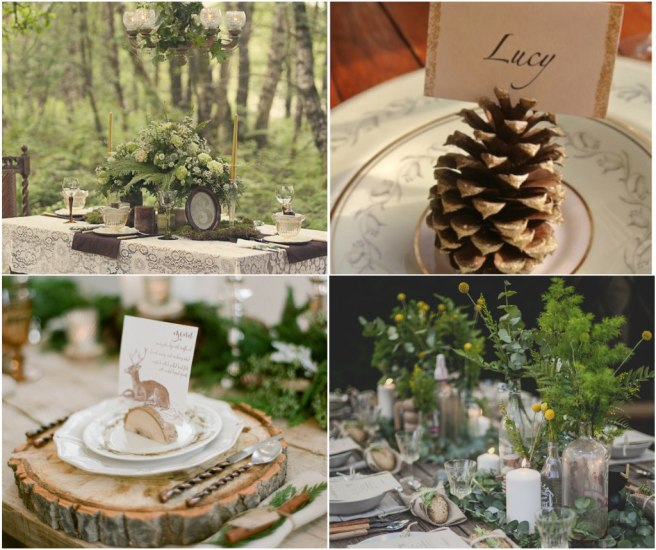 woodland dinner collage