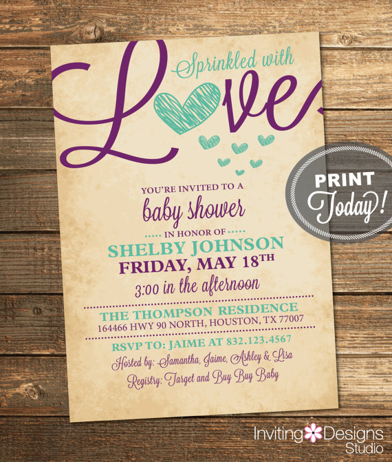 Love sprinkle baby shower invite