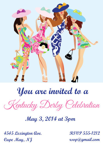 Kentucky Derby Invitation, Southern Hat Tea Party Invitation