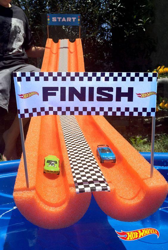 Pool noodle race car track