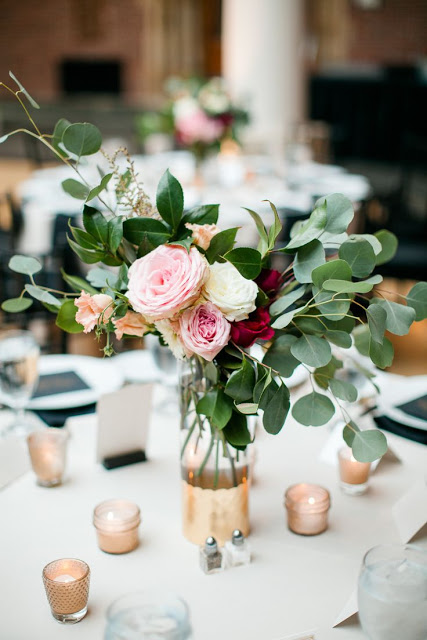 Eucalyptus and Rose Centerpiece
