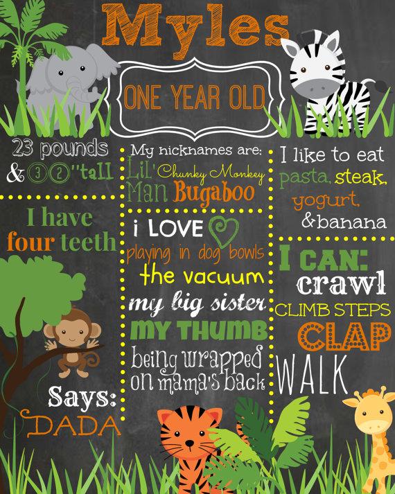 Safari Birthday Chalkboard