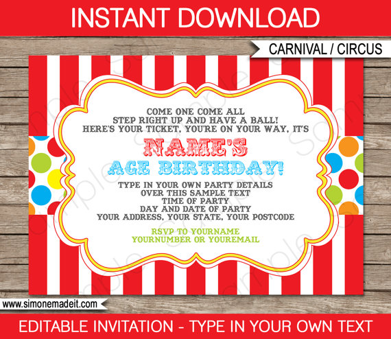 Carnival invitation party pack