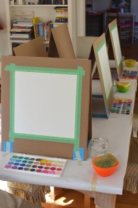 card board easel for art party