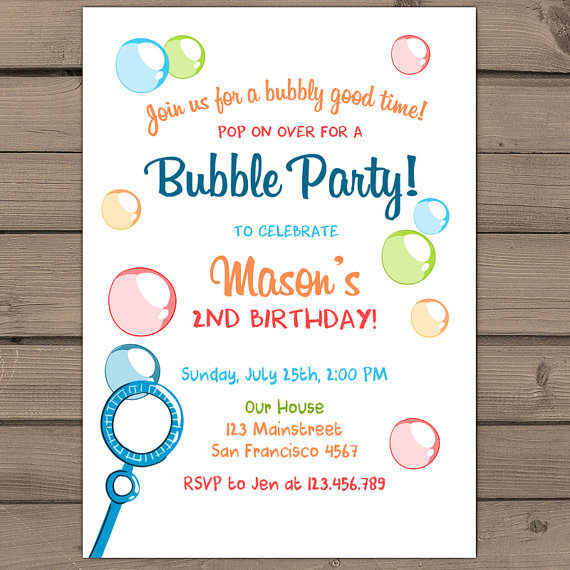 Bubble birthday invitation