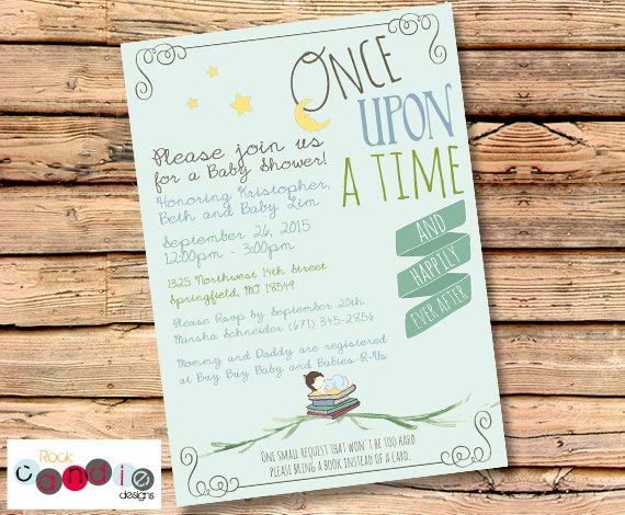 book themed baby shower invite