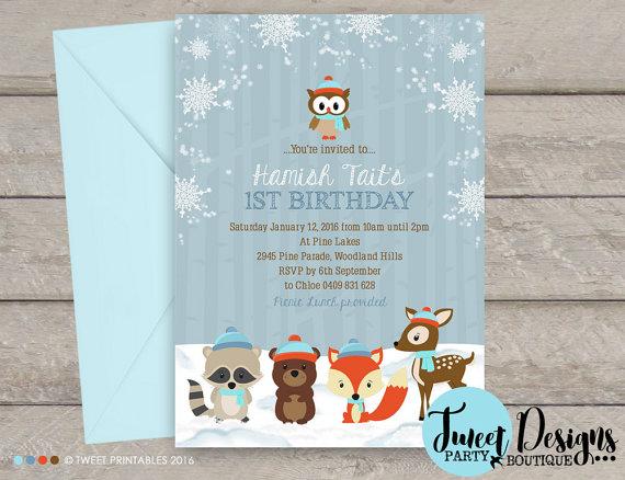 winter woodland invitation