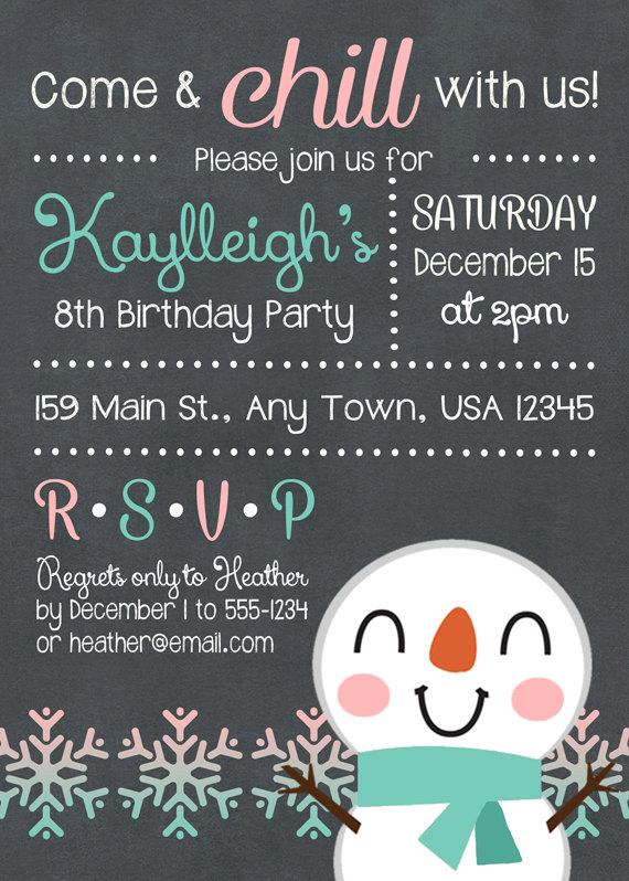 winter birthday party invitation