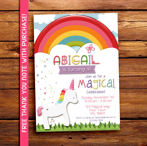 magical rainbow unicorn party invitation